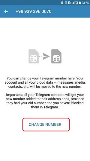 تغییر دادن شماره در تلگرام