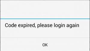 Code expired. please login again