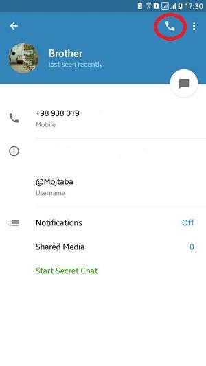 اموزش تماس صوتی تلگرام