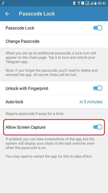 نگرفتن اسکرین شات در تلگرام