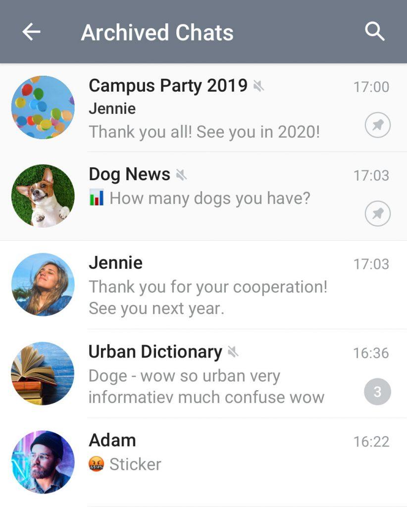 بخش بایگانی در بالای لیست گفتگوها