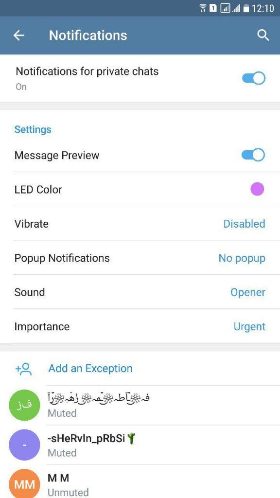 تنظیمات صدا در تلگرام