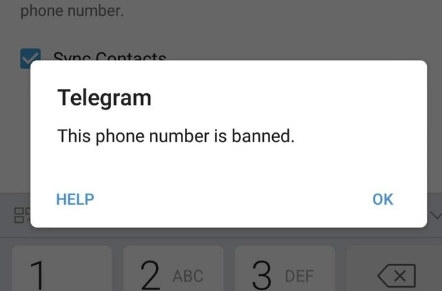 This phone number is banned تلگرام