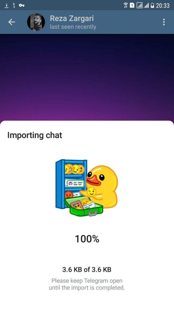 انتقال چت از واتساپ به تلگرام