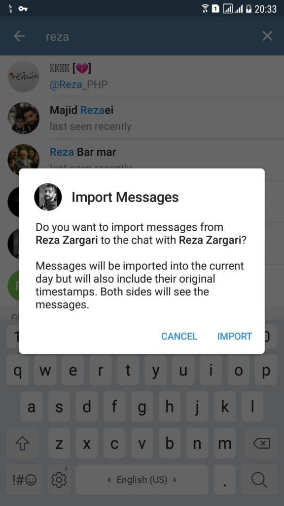 انتقال اطلاعات از واتساپ به تلگرام